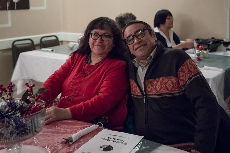 2016 December 13th board meeting of Keewaytinok Native Legal Services at the Sky Ranch Restaurant in Moosonee. Denise Lantz and Leo Metatawabin.