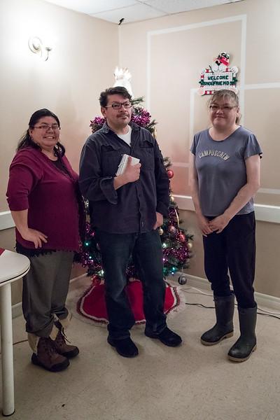 2016 December 13th board meeting of Keewaytinok Native Legal Services at the Sky Ranch Restaurant in Moosonee. Pauline Sackaney, Chris Kataquapit, Trina Hookimaw.