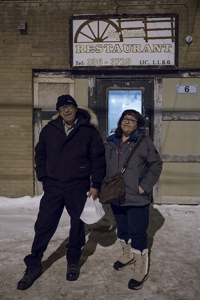 Leo Metatawabin and Denise Lantz outside the Sky Ranch Restaurant in Moosonee.