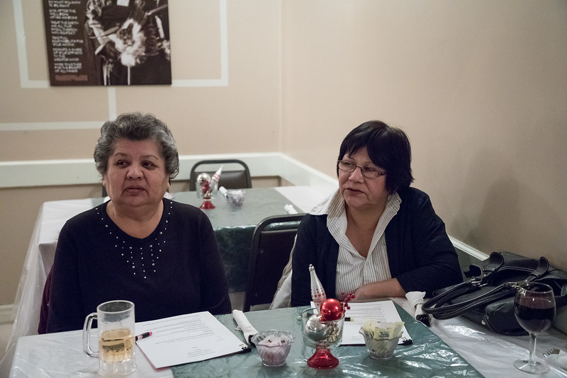 2016 December 13th board meeting of Keewaytinok Native Legal Services at the Sky Ranch Restaurant in Moosonee. Maureen McCauley and Climie WEsley.