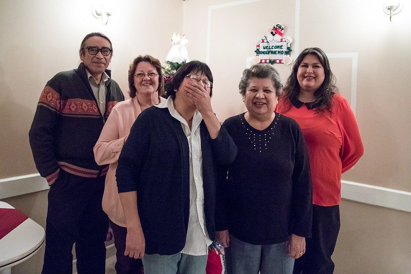 2016 December 13th board meeting of Keewaytinok Native Legal Services at the Sky Ranch Restaurant in Moosonee. Board members Leo Metatawabin, Barb Louttit, Climie Wesley, Maureen McCauley, Shirley Sparling.