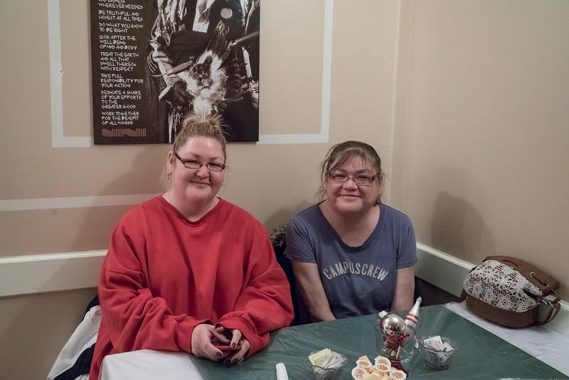 2016 December 13th board meeting of Keewaytinok Native Legal Services at the Sky Ranch Restaurant in Moosonee. Cheryl and Trina Hookimaw.