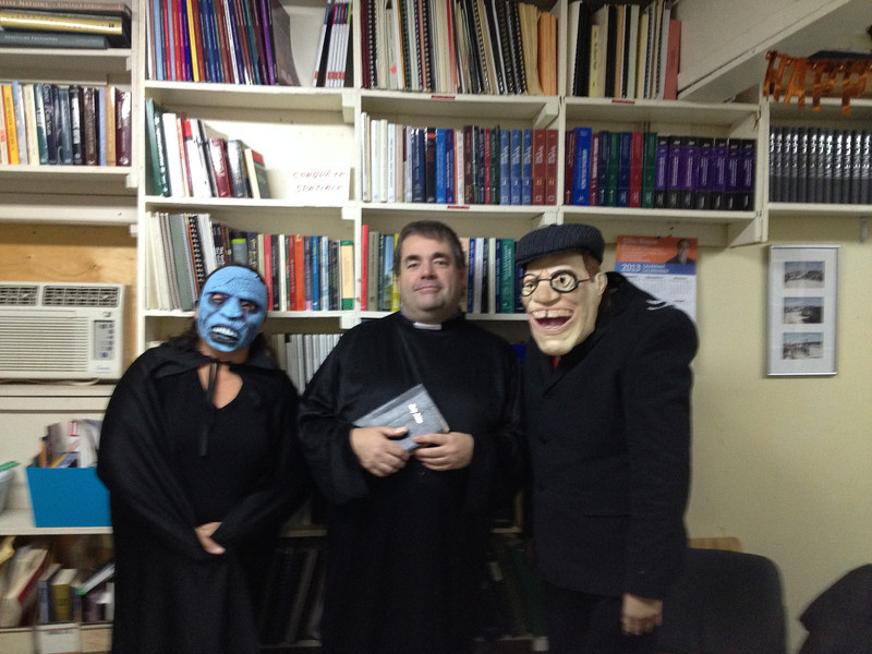 Hallowe'en 2013 at Keewaytinok Native Legal Services. Pauline Sackaney, Paul Lantz and Trina Hookimaw in costumes. Photo by Norma Gull.