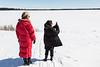 Kathy Laird and Lori Mishibinijima above the Moose River in Moosonee.