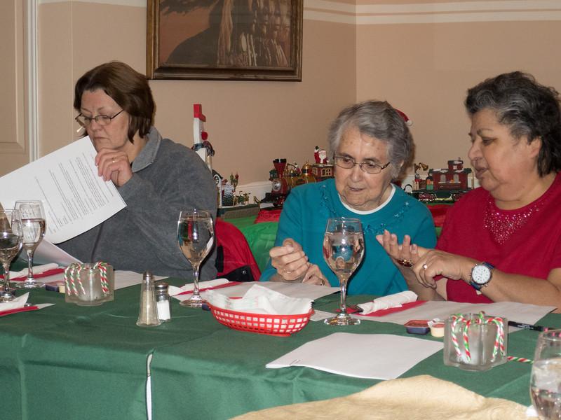 December 2013 board meeting. Barb Louttit, former board member Maude Tyrer, Maureen McCauley.