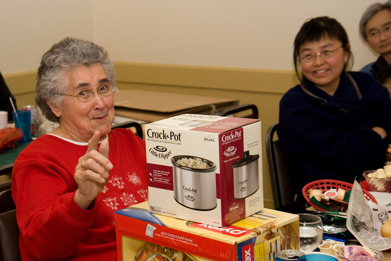 Board Elder Maude Tyrer, often known as grandmother of hockey player Jonathan Cheechoo, seems to like her gifts.
