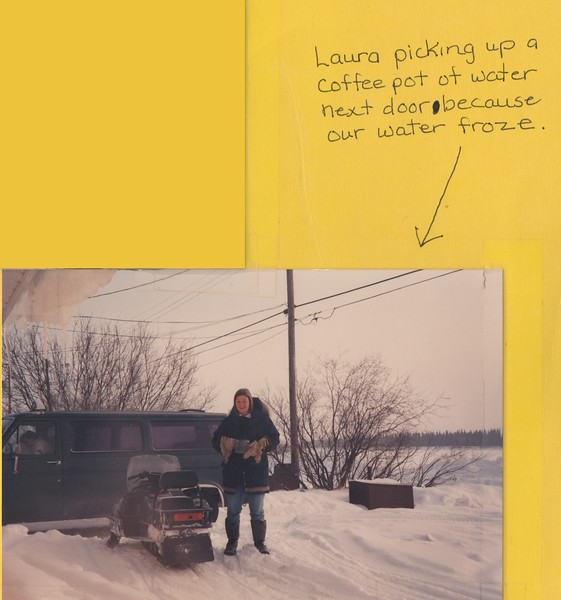 """Crop showing Laura Howarth standing outside with caption above --- Interior of """"the Northern Lawyer"""" file folder. Includes seven photographs and two captions. Four photographs show Paul Lantz on clinic snowmobile, one shows Laura Howarth standing outside by a snowmobile, one shows Paul Lantz at his desk and the seventh shows Laura Howarth standing in library doorway. Early 1990s, photographs taped to folder."""