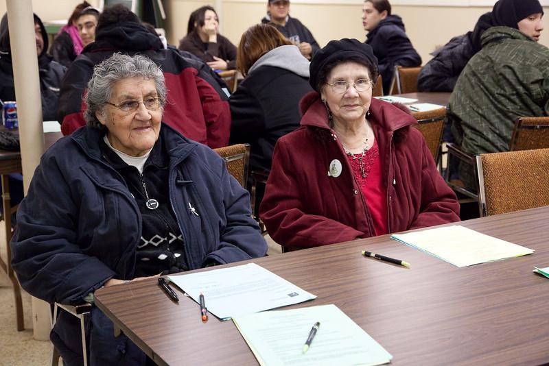 Elder Margaret Solomon and Anna Bella Goulet who has been translating for Keewaytinok since 1981. Annual General Meeting of Keewaytinok Native Legal Services held in Moosonee, Ontario on 2009 February 18th. Keewaytinok is a legal aid clinic funded by Legal Aid Ontario.
