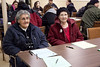 Elder Margaret Solomon and Anna Bella Goulet who has been translating for Keewaytinok since 1981. Annual General Meeting of Keewaytinok Native Legal Services held in Moosonee, Ontario on 2009 February 18th. Keewaytinok is a legal aid clinic funded by Legal Aid Ontario.