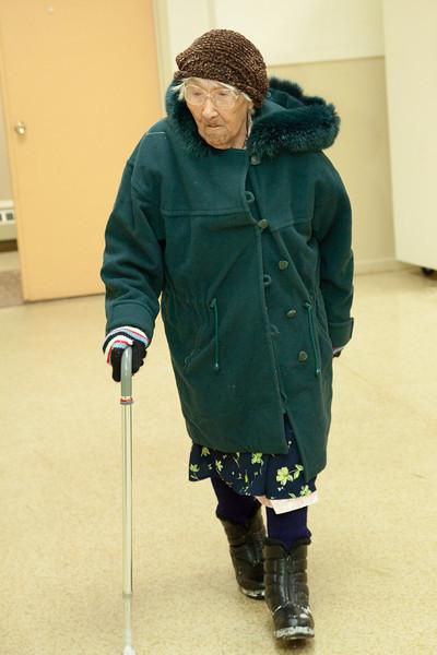 Elder Marguerite Wabano, 105 years old arriving at Annual General Meeting of Keewaytinok Native Legal Services held in Moosonee, Ontario on 2009 February 18th. Keewaytinok is a legal aid clinic funded by Legal Aid Ontario.