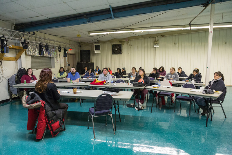 Moosonee lawyer Mary Chakasim presenting a workshop on Family Law and You at the Annual General Meeting of Keewaytinok Native Services in Moosonee. 2014 February 12th.