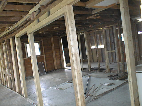 Interior during attempted 2002 renovations Keewaytinok Native Legal Services staff house at 77 Bay Road in Moosonee