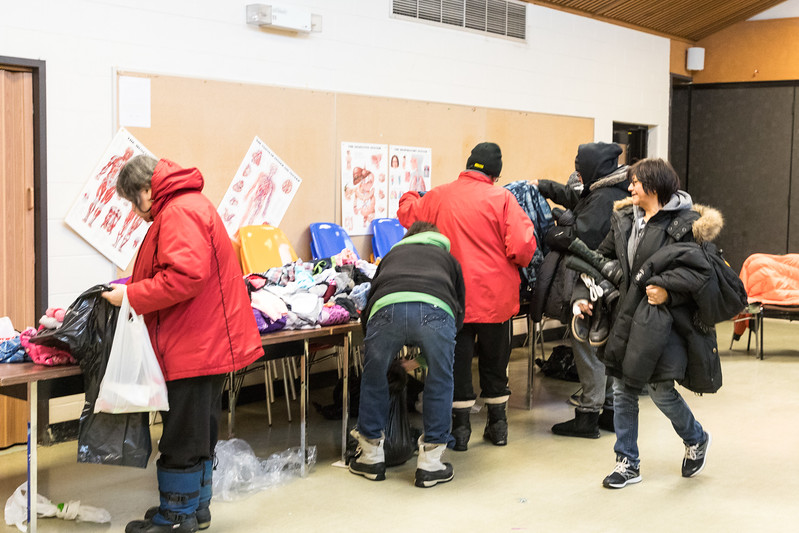Project Cold 2017, the third annual winter clothing distribution organized by Community Legal Worker Pauline Sackaney from Keewaytinok Native Legal Services and held 2017 December 6th at the Northern College Cafeteria in Moosonee, Ontario.