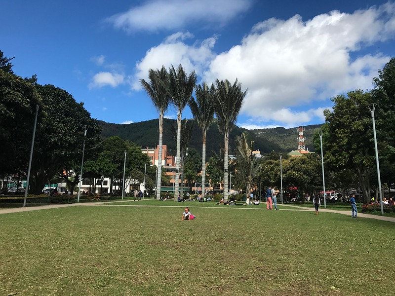 At last... Arrival to Bogota and play time at  'Parque de la 93'. Happiness!