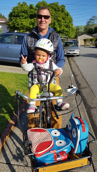 Departure to daycare, day #2! This time with Daddy on the bike :)