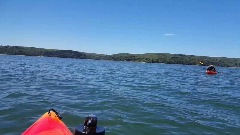 Captain Keira kayaking on Tomales Bay!