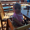 Lunch on the lake - on a high chair like a big girl!