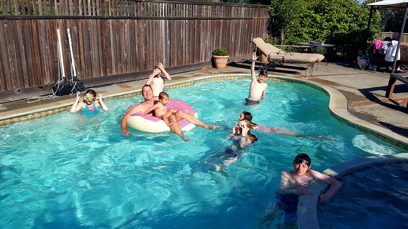 Pool party at our friend's house in San Rafael