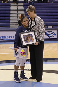 Keiser senior Guard Claudia Reque and Caoach Oswald