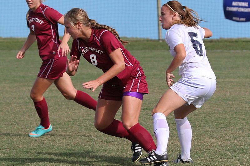 Westmont Defender Sophie Judd (8) and Northwood Forward Taryn Pardoe