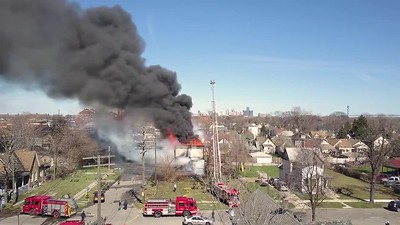 Drone Footage of Military  Cadet Fire (Detroit MI) 4817