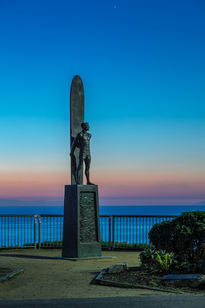 Surfer Statue Before Dawn