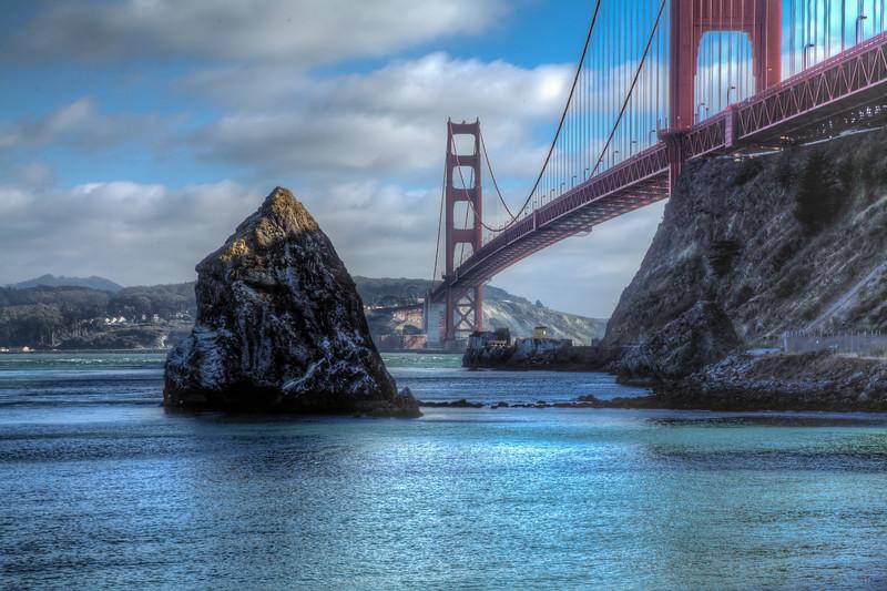 Large Rock and Golden Gate Bridge