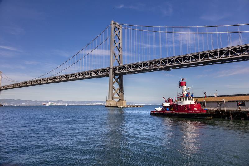 Bay Bridge and Tugboat