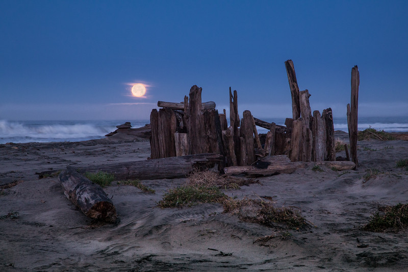 Moonset Over Waddell Creek Beach 2