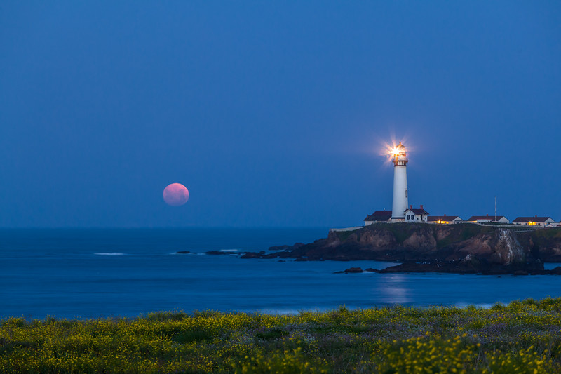 Spring Moonset at Pigeon Point