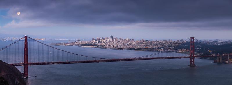Golden Gate Bridge Moonrise Panorama