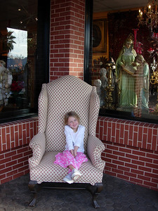 Kelly sitting in chair La Jolla, CA