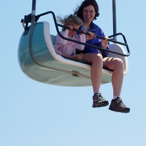 Kelly and Patty on the skyride above the broadwalk Santa Cruz, CA