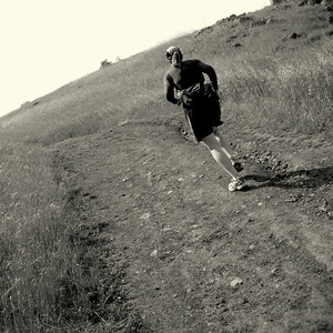 Patty running along Skyline Ridge Near Woodside, CA