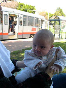 Patty and Kelly at Dolores Park with J-Line Muni tram