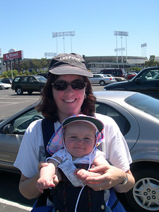 Kelly and Patty in front of the Oakland Coliseum