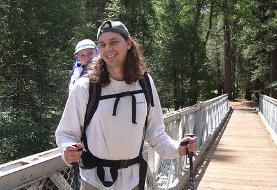 Kelly and her daddy hiking the mist trail (bridge at Bubbs creek)