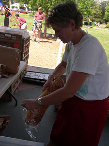 Getting bread for lunch at the Davis farmer's market