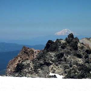 Mt Shasta viewed from Lassen summit (snow in foreground)
