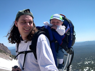 Kelly and daddy climbing Mt Lassen