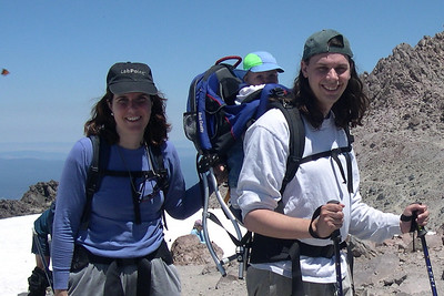 Patty, Kelly and Peter at the Lassen Summit (butterfly on the left)