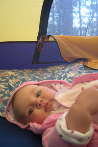 Kelly after her first night camping