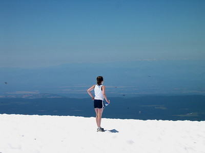 Summer in the snow on Lassen summit (the blurs are butterflys)