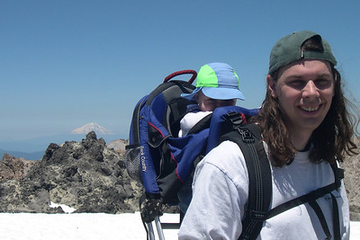 Kelly and Peter in front of Mt Shasta on Lassen Summit