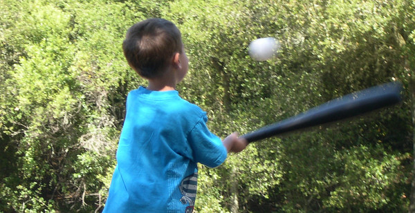 Stevie swinging baseball bat