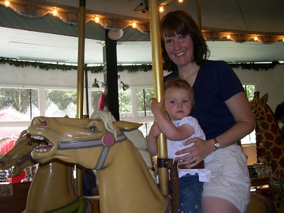 Patty and Kelly at Tilden merry-go-round
