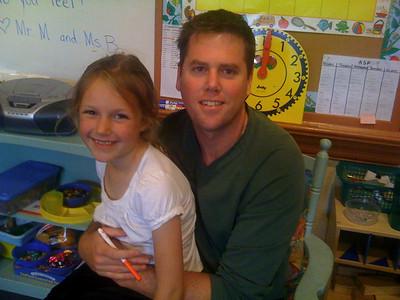 Kelly with her Kindergarten teacher