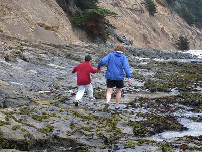 Stevie and Patty tide pooling at Fitzgerald Marine reserve