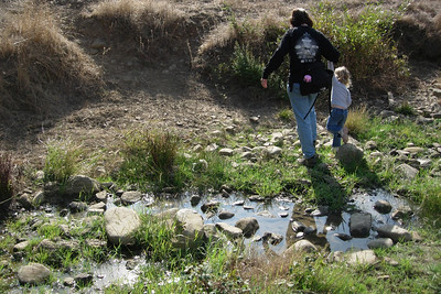 Kelly and Patty crossing Newt Pond