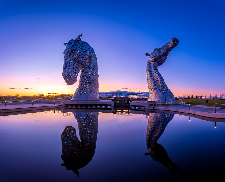 The Kelpies in the final light of the day